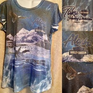 Harley-Davidson Juneau AK Whales & Eagle Tee Shirt